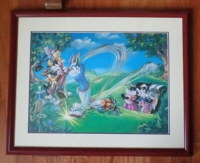 Framed Warner Bros. Looney Tunes Golf Open Art Print Bugs Bunny Daffy & Gang