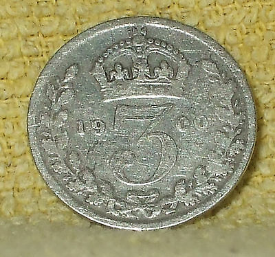 1900 Threepence Queen Victoria Great Britain Coin (Ref A)