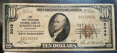 Gorgeous 1929 US Ten Dollar Bill National Currency East Tennessee Bank Knoxville