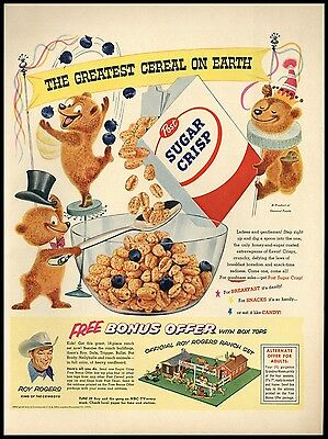 1955 Official Roy Rogers Ranch Set Offer Bear Kichen Wall Art Post Cereal AD