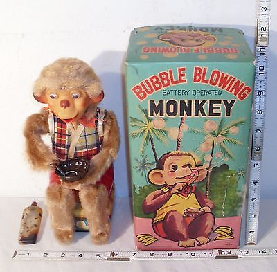 Bubble Blowing Monkey Tin Battery Operated Toy Alps Japan Works Complete Boxed