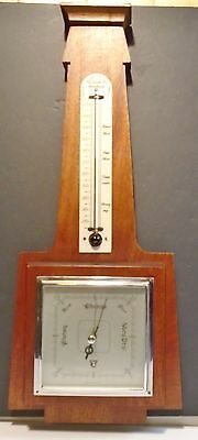 """Barometer-Thermometer Deco Geometric Solid Mahogany Smiths England 19"""" 1940's"""