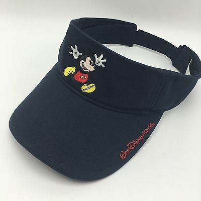 Walt Disney World Mickey Mouse Embroidered Navy Blue Visor Hat Cap Adjustable