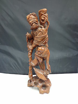 """Chinese Iron Wood Hand Carved Immortal 14"""" Figurine Sculpture"""