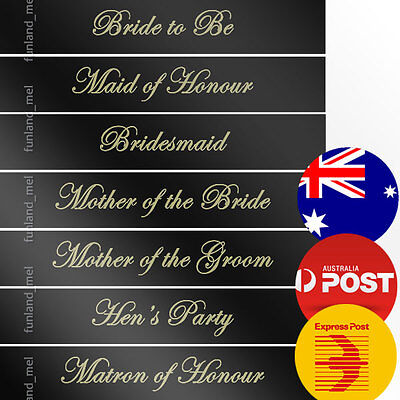 Black Sashes Gold Text Hens Night Bridal Bride To Be Bridesmaid Maid of Honour