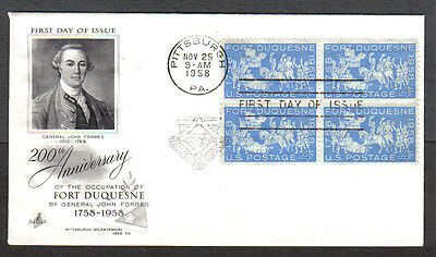 Us Fdc 1958 Fort Duquesne 4C Stamps Ac First Day Of Issue Cover Pittsburgh Pa