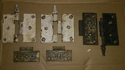 lot of vtg EASTLAKE VICTORIAN ORNATE CAST IRON DOOR HINGES antique hardware