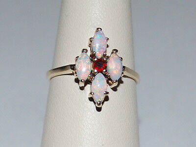 10k gold ring with Garnet and Opal gemstones(October birthstone)