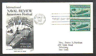 Us Fdc 1957 International Naval Review 3C Fleetwood First Day Of Issue Cover