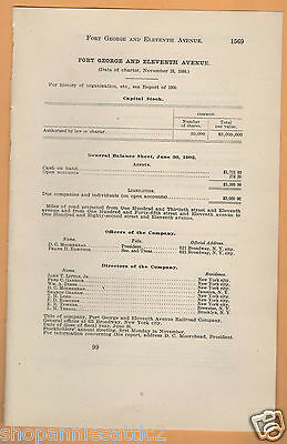 1902 RR report FORT GEORGE & ELEVENTH AVENUE RAILROAD Manhattan NYC projected