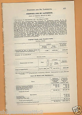 1902 NY RR report NORWOOD & ST LAWRENCE RAILROAD Raymondville New York trian