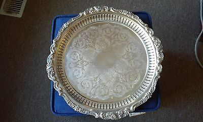 Vintage Wallace Baroque Silver Plated 16.5 Footed Serving Tray Platter #297