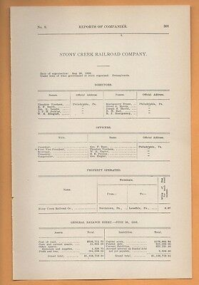 1909 train report STONY CREEK RAILROAD COMPANY Norristown Lansdale PA RR