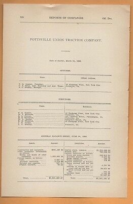1909 electric trolley report POTTSVILLE UNION TRACTION COMPANY Schuylkill County