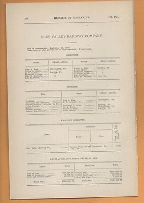 1909 train report OLEY VALLEY RAILWAY railroad CARSONIA to BOYERTOWN PA berks co