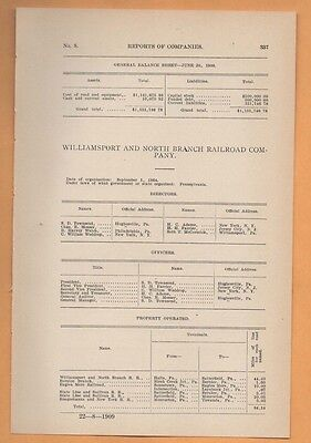 1909 train report WILLIAMSPORT & NORTH BRANCH RAILROAD Halls to Satterfield PA