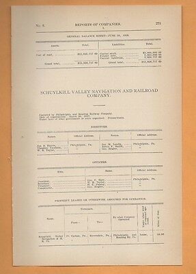 1909 train report SCHUYLKILL VALLEY NAVIGATION & RAILROAD Reevesdale PA RR