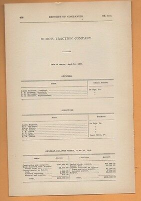1909 electric trolley report DUBOIS TRACTION COMPANY Clearfield co. PA streetcar