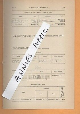 1909 train report MIDDLETOWN & HUMMELSTOWN RAILROAD COMPANY Pennsylvania  PA