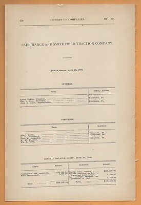 1909 electric trolley report FAIRCHANCE & SMITHFIELD TRACTION CO. Fayette PA