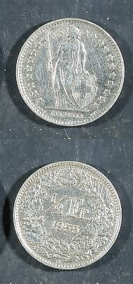 1955 Switzerland 1/2 Franc SILVER (0.835 fine, 0.067 oz) XF, polished   stk#2F12