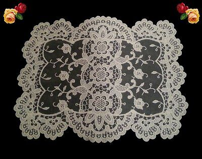 Vintage Fine Embroidered Net Floral Vines Roses Doily Cream Square Scallop Old