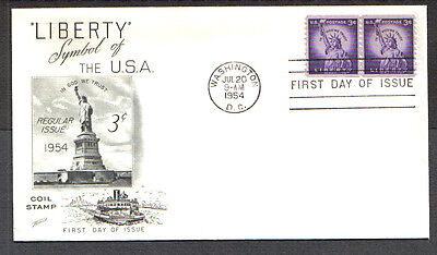 Us Fdc 1954 Liberty 3C Coil Stamps Fleetwood First Day Of Issue Cover