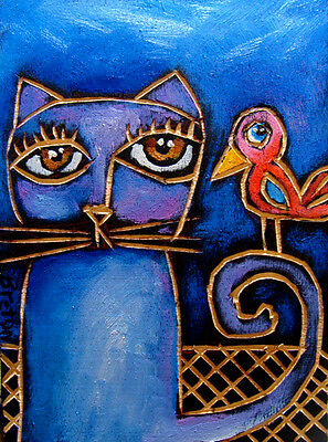 Cat & Bird Abstract OIL painting original modern art   ---  FREE SHIPPING