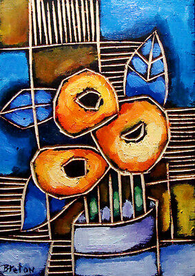 Abstract OIL painting Flower vase original modern art   ---  FREE SHIPPING