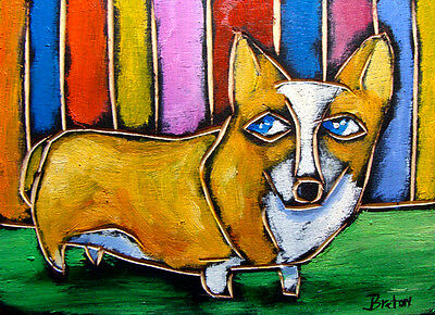 Prembroke Welsh Corgi DOG abstract OIL painting original Art ---  FREE SHIPPING