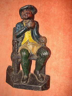 Vintage Cast Iron DOOR STOPPER - Man sitting in chair & drinking - 4Lb 5oz
