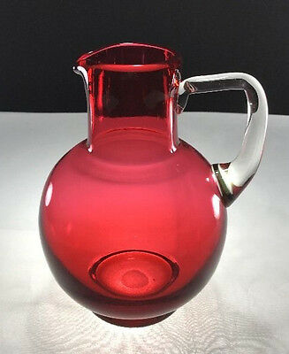 English Cranberry Glass Bulbous Small Pitcher