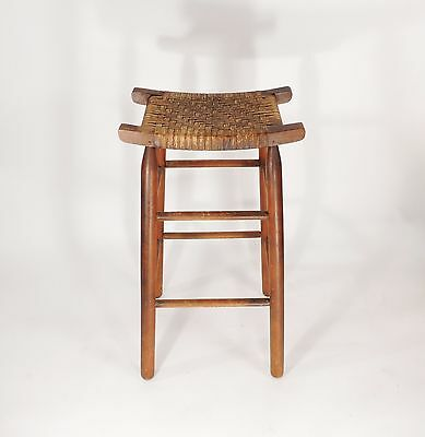 Vintage Mid Century Wood Woven Seat Pagoda Counter Bar Stool