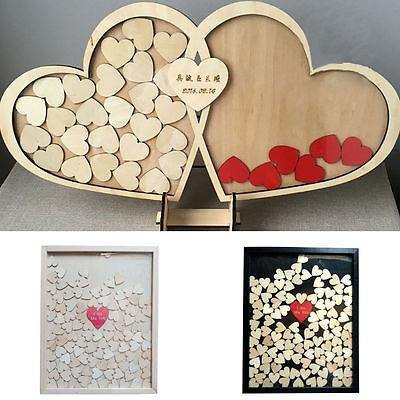 New Personalized Engraved Rustic Drop Top Wooden Wedding Guest Book Box Frame