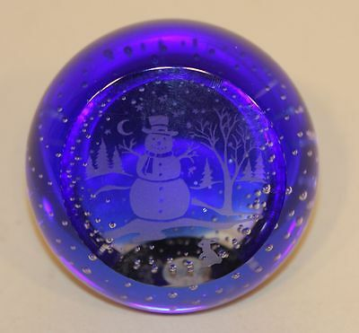 Caithness Cobalt Blue Glass Paperweight Enchanted Evening Snowman 45/300