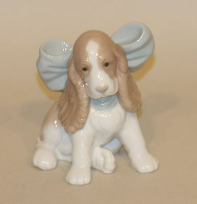NAO Lladro Spain Figurine 1349 Puppy Dog with Blue Bow