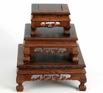 Orient Carved Square Chinese Suiseki Display*rosewood*tiger Leg-3Pc