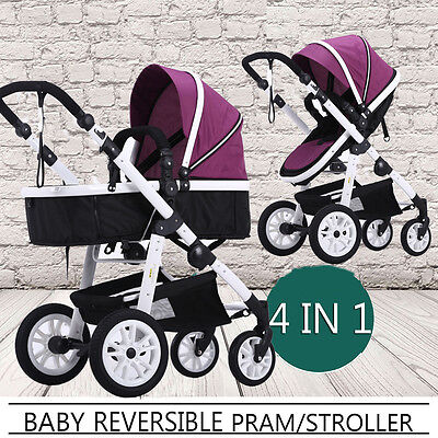 Newborn Reversible Pram Buggy Baby Bassinet Stroller Pushchair Travel System