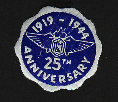 "OPC 1919-1944 KLM 25th Anniversary 1 3/4"" Embossed Foil Label Paper on back"
