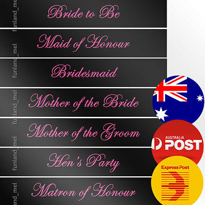 Black Sashes Pink Text Hens Night Bridal Bride To Be Bridesmaid Maid of Honour
