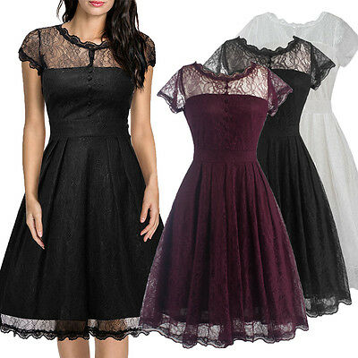 50s Women Floral Lace Backless Formal Cocktail Evening Party Dress Summer Dress