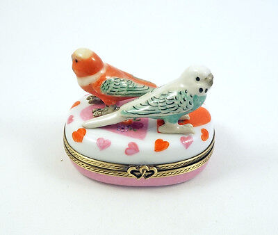New French Limoges Trinket Box Budgie Budgerigar Parrot Parakeets On Hearts