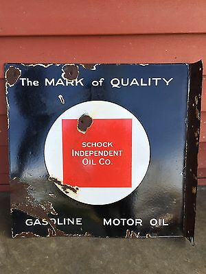 SCHOCK INDEPENDENT OIL CO. Porcelain Flange Gas Oil Sign Sinclair Gulf Mobil
