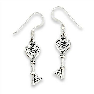 Sterling Silver Celtic Key With Triquetras Dangle Earrings