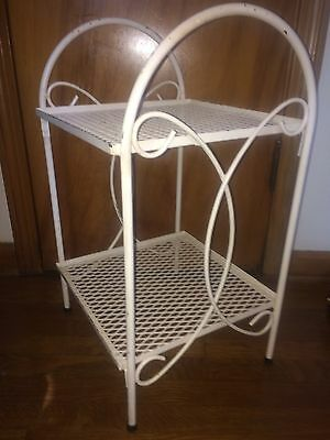 Vintage White  Metal Mesh Patio Table Outdoor Plant Stand End Tables country