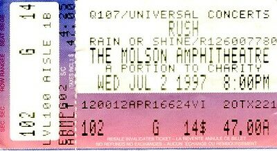 Rush 1997 Ticket Stub, Molson Amp. Toronto –2112 Played in full - this tour only