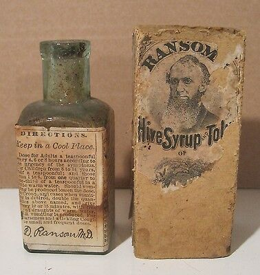 """Vintage Ransom's Hive Syrup Bottle 4"""" Tall, Cork Top, Empty W/Original Box"""