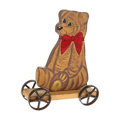 Vintage Antique Bear Pull Toy IronWheels Wood Hand Painted Decor Brown