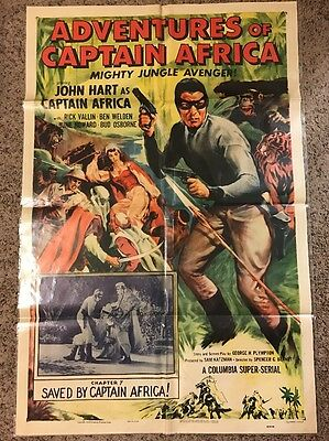 """Original 1955 Adventures Of Captain Africa Movie Poster 41"""" X 27"""" Chapter 7"""