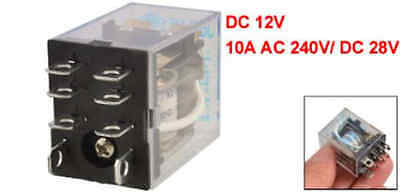 Uxcell DC 12V Coil 10A 240VAC 28VDC Dpdt Electromagnetic Relay Jqx-13F2Z